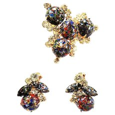 Gorgeous Rare Hard to Find Juliana Millefiori Brooch and Earrings