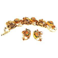Fabulous Art Glass Bracelet and Earrings Patented  Vintage
