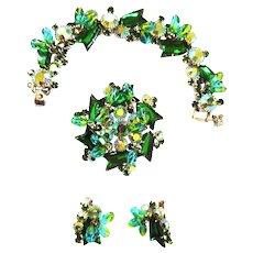 Exquisite Juliana Emerald Drippy Rhinestone Bracelet and Earrings Brooch
