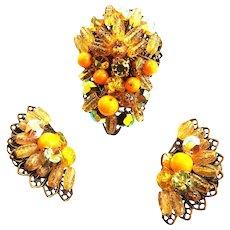 Vintage Designer Brooch and Earrings Must C