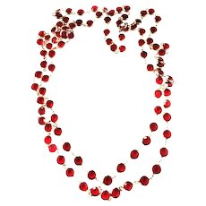 40 inches of Luxury Red Long Rhinestone Necklace Vintage