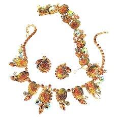 Vintage JUliana Art Glass Pineapple Necklace Bracelet Earrings