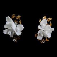 1940s Haskell Flower Clip Earrings