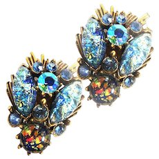 Vintage Florenza Art Glass Rare Earrings