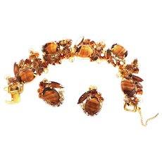 Juliana Art Glass Bracelet and Earrings