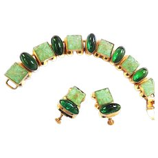 Fabulous Vintage Art Glass Cabochon Bracelet and Earrings