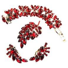 Juliana Deep Red Cabochon Bracelet Brooch Earrings