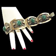 Sterling Silver 925 Carved Green Onyx Aztec Head Mexican Bracelet