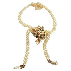 Vintage Haskell Long Faux Pearl Necklace
