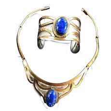 Fabulous Egyptian Revival Lapis Copper  Collar and Bracelet Vintage