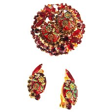 Rare Hardest to Find Juliana Red Carved Flower Brooch and Earrings