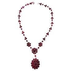Gorgeous Victorian Rose Cut Garnet Drippy Necklace