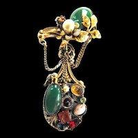 Mesmerizinhg 1940s Cabochoon Brooch designer faux pearls