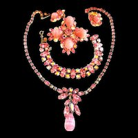 Pretty  in Pink Regency Grand Parure Necklace Bracelet Earrings Brooch Brooch 1950s
