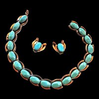 Mid Century Modern Matisse Copper and Enamel Necklace and Earrings