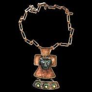 Captivating Mexican Long Copper  Aztec Face Necklace Vintage