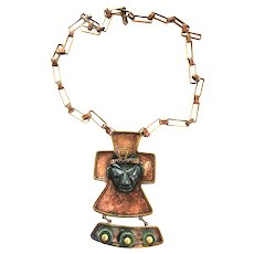 Captivating Mexican Long Copper  Aztec Face Necklace Vintage