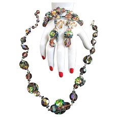Gorgeous Multi Colored Watermelon Necklace Bracelet earrings 50s