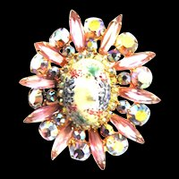 Juliana Art Glass Easter Egg Vintage Brooch