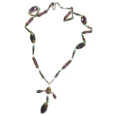 Early 1900s   Very Long Drippy Amethyst Czech Crystal Necklace  Flapper