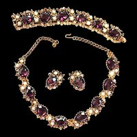 Exquisite Amethyst Huge Parure Necklace Bracelet Earrings w Faux Pearls
