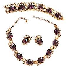 Exquisite Amethyst Huge Parure Necklace Bracelet Earrings w Faux Pearls