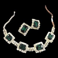 High End Designer Emerald Green Vintage Necklace and Earrings