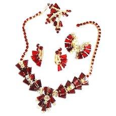 Vintage Juliana Keystone  Shape Ruby Red Necklace Earrings Brooch