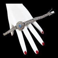 Art Deco Style Sterling Silver Marcasite Elegant Vintage Bracelet