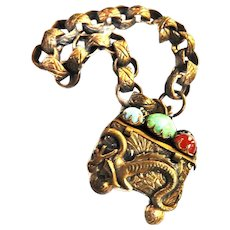 Spectacular Late 1800s - Early 1900s Chinese Charm basket Bracelet