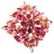 Juliana Vintage Pink and Fuchsia Layered Brooch