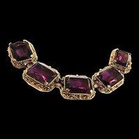 Fabulous Chunky Judy Lee Amethyst Vintage Bracelet