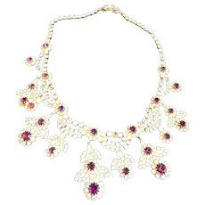 Over the Top Vintage Hobe Dazzling Drippy Collar Necklace