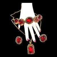 Vintage 1950s Judy Lee necklace Bracelet Earrings Cherry Red