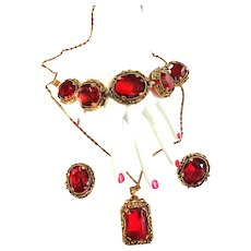 Vintage 1950s Judy Lee necklace Bracelet Earrings Cherry Red