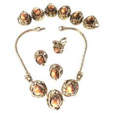 Designer Cabochon Heavy Necklace Bracelet Earrings Ring