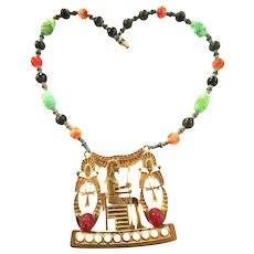 Vintage Hobe Majestic Pharaoh and Anch Necklace