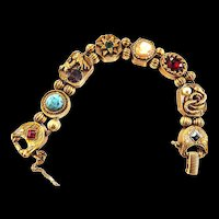 Griffins and Serpents Oh MY Goldette Slide Bracelet  Vintage Faux Pearls