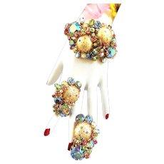 High End Clamper Bracelet and Earrings Must C