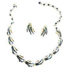High End Designer Montana Baguette Collar and Earrings 50s