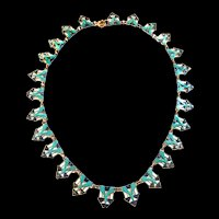 1940s Czech Egyptian revival enamel Necklace