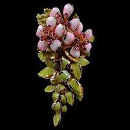 Fabulous Vendome Enamel Flower Brooch