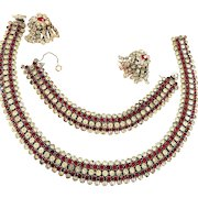 Exquisite Kramer Ruby Red and Clear Vintage Necklace Bracelet and Earrings 1950s