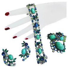 Incredible Art Glass Egg Cabochon Vintage Bracelet earrings Brooch