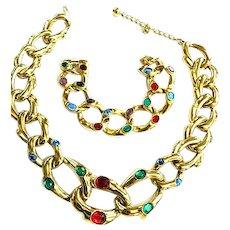Stunning Mogul Heavy Chain Link Rhinestone Necklace and Bracelet