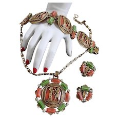 Egyptian Revival Chunky Necklace Bracelet Earrings