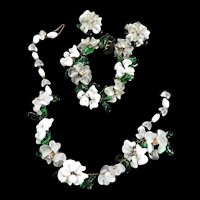 Exquisite Italian Flower Pate Verve Necklace Bracelet Earrings