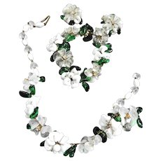 Exquisite Italian Flower Pate Verve Necklace Bracelet Earrings