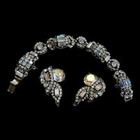 Exquisite Art Deco Style Aurora Borealis Bracelet and Earrings Hollycraft