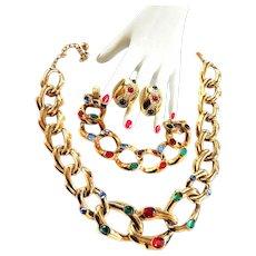 Stunning Mogul Heavy Chain Link Rhinestone Necklace and Bracelet Earrings
